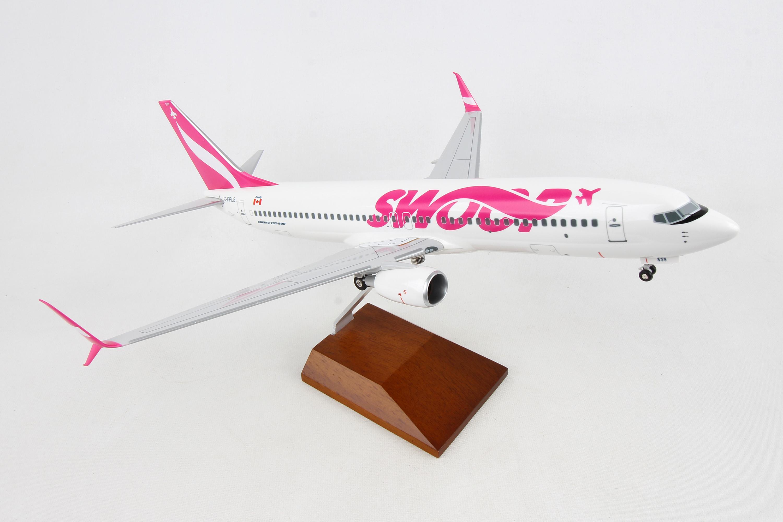 "SKR8273 - ""skymarks Swoop 737-800 1/100 W/wood Stand & Gear"""