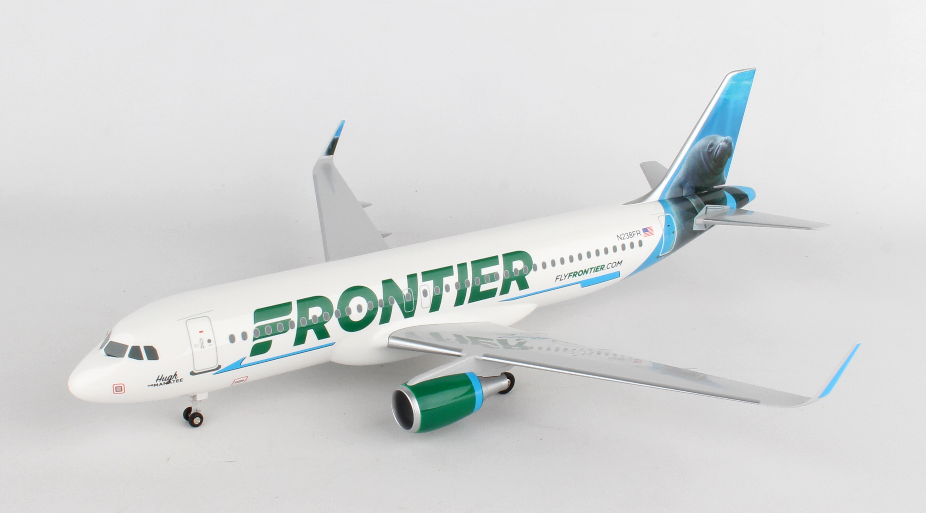 """SKR8328 - """"skymarks Frontier A320 1/100 Hugh The Manatee W/wood Stand"""""""